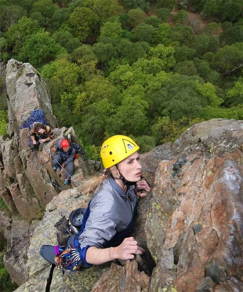 Rock Climbing Photo: Mhairi Cameron nearing the top of the last pitch. ...