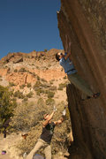 Rock Climbing Photo: Chris E enjoying the spectacular setting of the Sw...