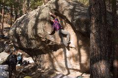 Rock Climbing Photo: Matt L pressing out the mantle