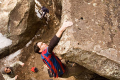 Rock Climbing Photo: Hitting the nice squared off top of the boulder. A...