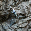 Jenna making big moves (hey they are all big when you are under 5 feet, right) through the steep bit.