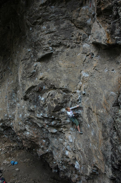 Rock Climbing Photo: Jenna clipping near the end of the opening difficu...