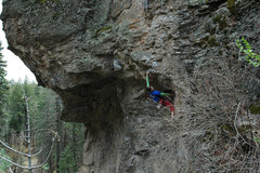 Rock Climbing Photo: Page pulling the upper roof on her way to the anch...