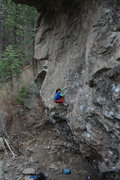 Rock Climbing Photo: Page making her way up the technical face while on...