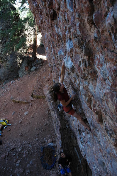 Rock Climbing Photo: Page making the early crux moves on Against All Co...