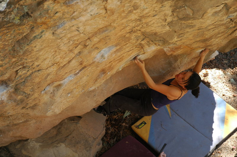 Rock Climbing Photo: Linda making the opening moves on Something Wicked...