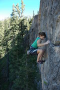 Rock Climbing Photo: Page finishing off the upper headwall of a 5.12a o...