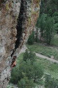 Rock Climbing Photo: Matthew NM moving up into the resting corner on Ru...
