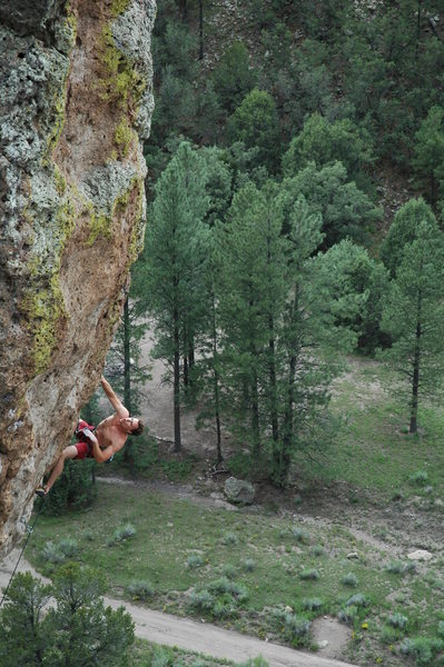 Rock Climbing Photo: Matthew NM nearing the end of the steep bit and th...