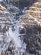 Rock Climbing Photo: (12-17-09) Avalanche debris below The Fang.