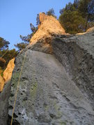 Rock Climbing Photo: Looking up at the slab dihedral that leads to the ...