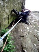 Rock Climbing Photo: Franco Cookson on a failed attempt at the crux sec...