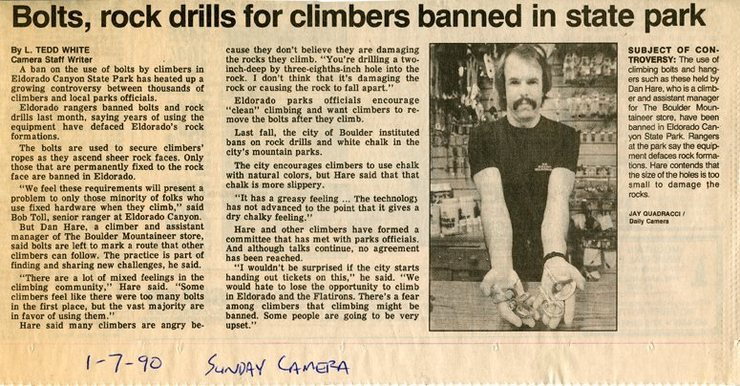 Sunday Camera newspaper article January 7, 1990.