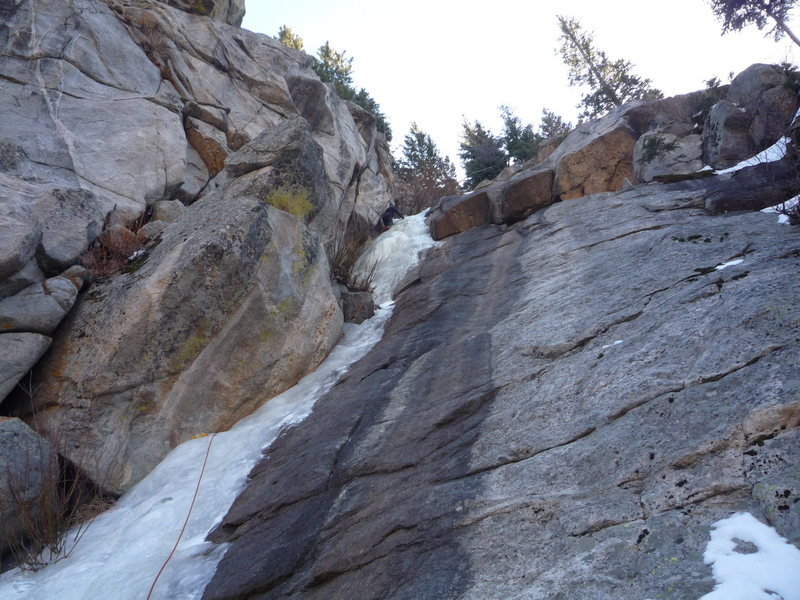 Rock Climbing Photo: Rick leading the Ramp. 12-19-09.