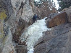 Rock Climbing Photo: Leading the upper Ramp.