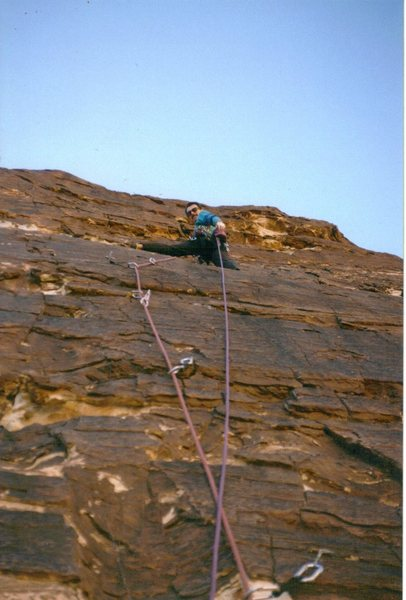 Todd Swain on the First Ascent. Photo Paul Ross