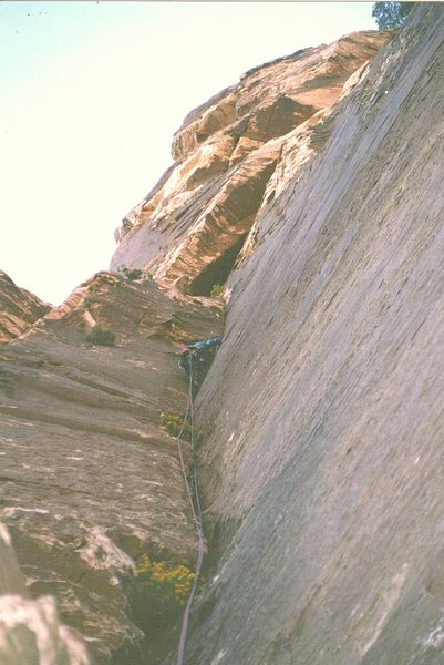 First Ascent . Todd Swain on pitch 4.Photo . Paul Ross