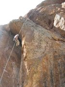 Rock Climbing Photo: Karl rapping off Discovery Wall after climbing Swa...