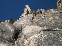 Rock Climbing Photo:  The Weak Stick approach pitch below he Popular Ha...