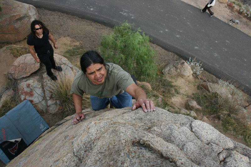 Rock Climbing Photo: Al on the lower exit road boulders. 12-20-09