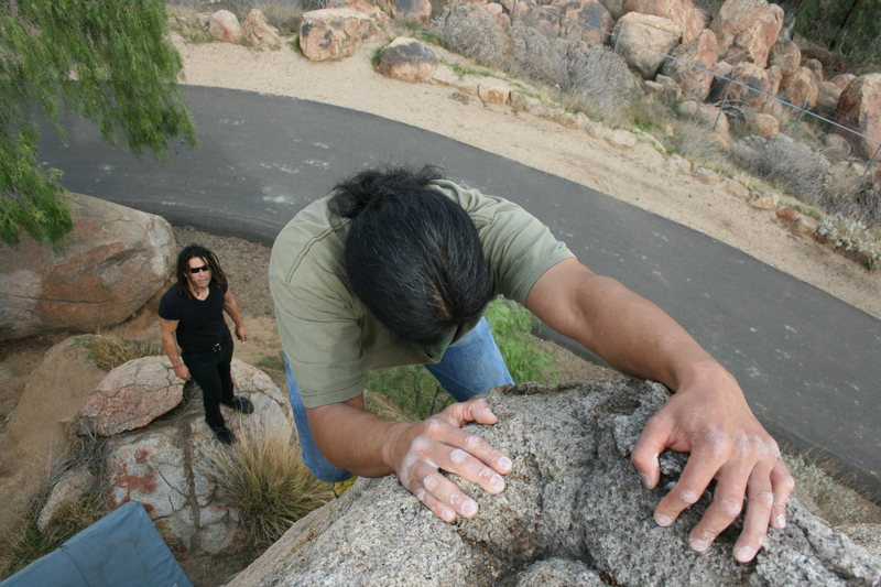 Al on the lower exit road boulders. 12-20-09