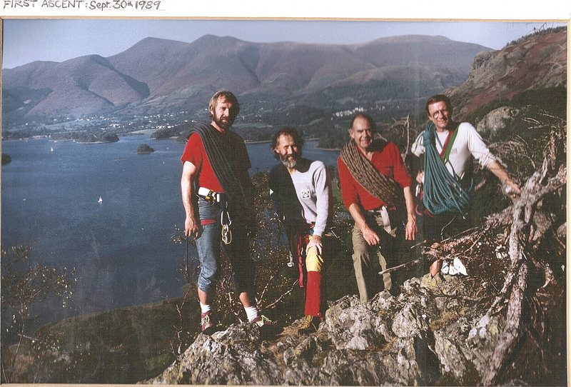 The team on the summit of Gowder crag. L to R Denis Peare,Chris Bonington,Pete Greenwood,Paul Ross.Lake Derwentwater below with the town of Keswick at the head of the lake ,with Skiddaw mountain as a back drop..Photo .Chris Bonington