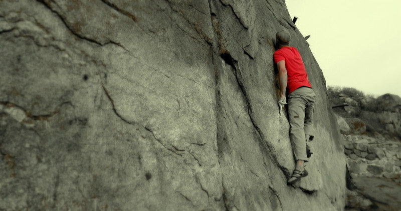 Rock Climbing Photo: Making the move to the top