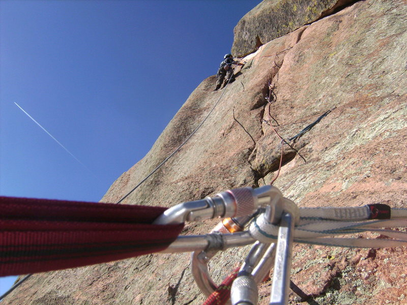 Rock Climbing Photo: Ozone Direct, through the first part of the crux.