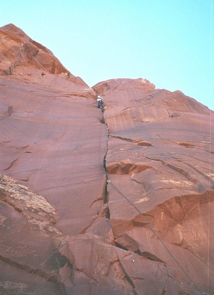 Rock Climbing Photo: Paul on first ascent ..first pitch
