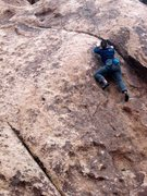 Rock Climbing Photo: Christina starting the upper crux of Shattered (5....