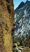 Rock Climbing Photo: Charlie Fowler on the FA, 1988.