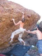 Rock Climbing Photo: Matt sticking the last move.
