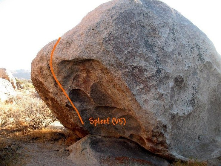 Rock Climbing Photo: Spleef (V5), Joshua Tree NP