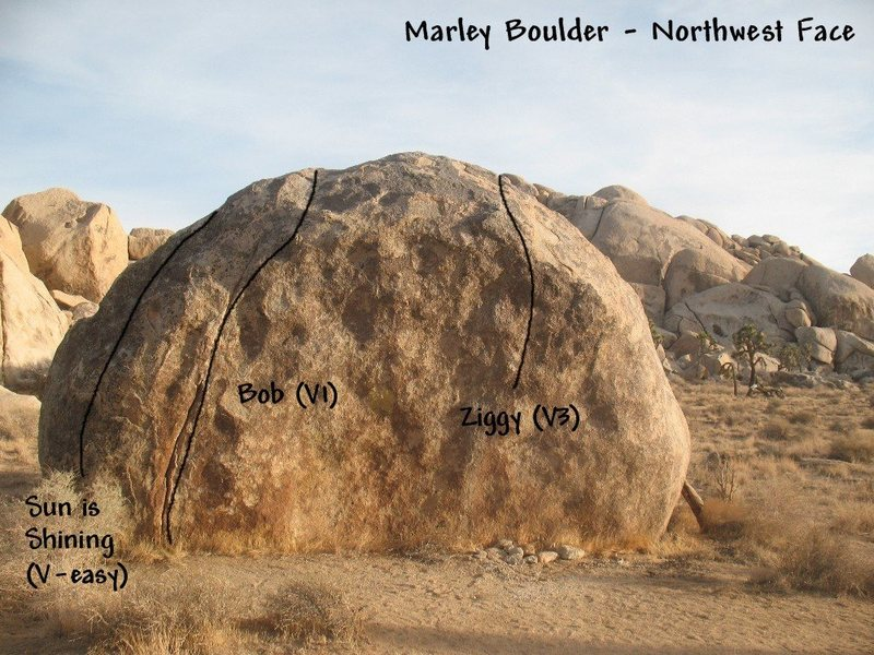 Photo/topo for the Marley Boulder (northwest face), Joshua Tree NP