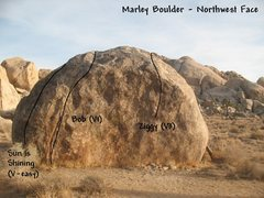 Rock Climbing Photo: Photo/topo for the Marley Boulder (northwest face)...