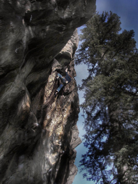 Luke Childers working the moves on his new &quot;Primo Wall&quot; project &quot;Problem Child.&quot;  <br> <br> It's got climbing in the V8/V9 range in two if not three places.  At this point I feel like 5.13c/d seems about right, but to really make the grade solid I will probably give a rating of 5.13b/c when I have completed the project.  <br> <br> Hard power/tech that packs a bouldering style pump.  Tasty.