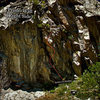More photo beta for the route &quot;Relative To Standing.&quot;  Located on &quot;The Primo Wall's&quot; right side.  Clear Creek Canyon, Co. <br> <br> Photo Credit:  Bob Horan.  Thanks for a great photo beta picture.