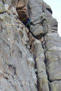 Rock Climbing Photo: Lynda Cristensen working her way up the first pitc...