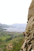Rock Climbing Photo: Raindrop. Lake Derwent Water in background. Photo ...