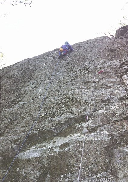 P.Ross on First Ascent... Paper Thin.E3 5c (5.10c) . Paper Crag . Borrowdale Valley.1993