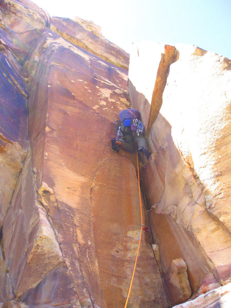 Rock Climbing Photo: Gabe Ostriker on the FA (in the first of three dih...