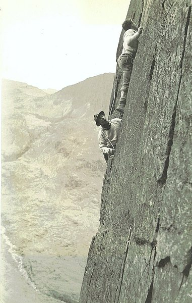 Historic Photo 1954.The late George Fisher (Keswick shop fame) Belaying Paul Ross on Kern Knotts Crack Great Gable.
