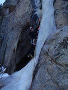 Rock Climbing Photo: Starting Middle Flow, Boulder Canyon 12/09.