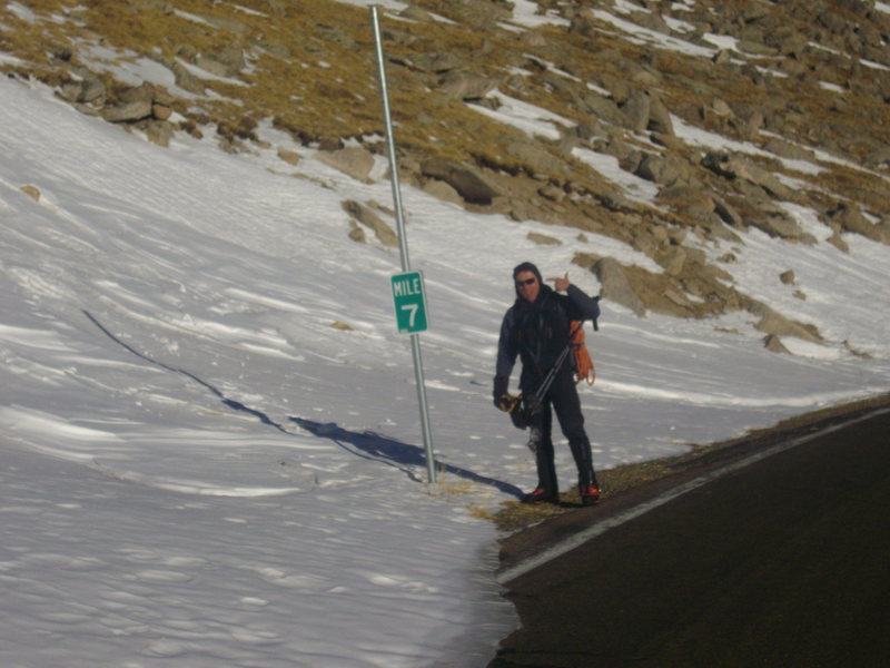 Eric Lashinsky showing mile marker 7 after getting back to the Mt Evans road.
