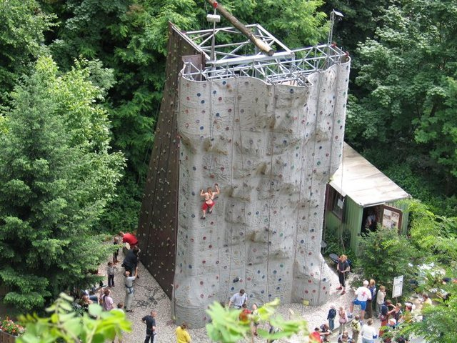 This is the climbing tower at Jacobswand, courtesy of DAV Weinheim.