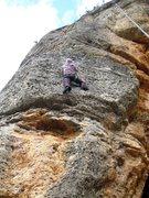 Rock Climbing Photo: Finishing up the crux bulge.