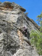 Rock Climbing Photo: Clearing the roof.  The is probably the hardest se...