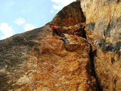 Rock Climbing Photo: Resting below the first of two successively harder...