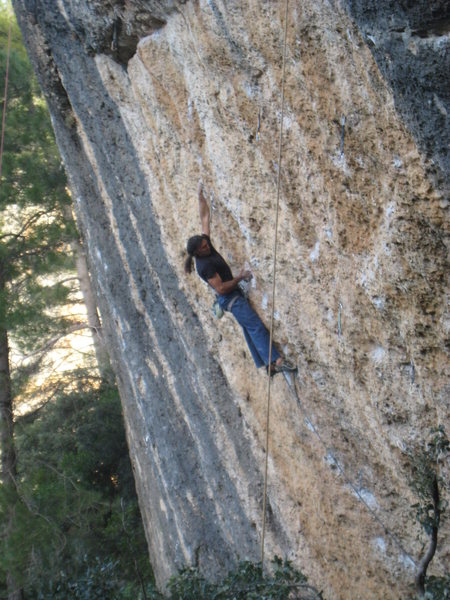 One of many big moves, this is probably the redpoint crux of the 5.13a pitch.