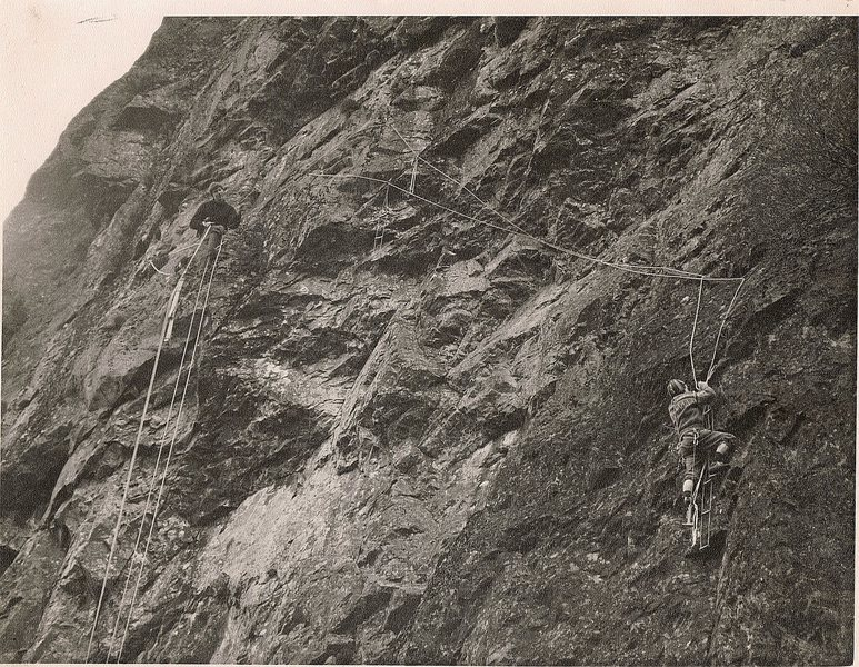 First Ascent .The Great Buttress (Footless Crow area),Goat Crag .Borrowdale. Adrian Liddell,Paul Ross.1965